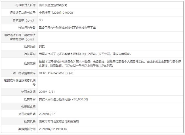 南京泓通置业建设工程未经验线或验线不合格擅自开工 处罚3.5万元